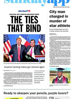 Asbury Park Press front page, Sunday, February 28, 2016