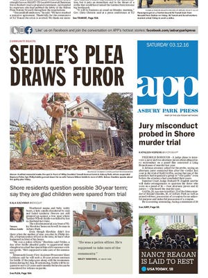 Asbury Park Press front page, Saturday, March 12, 2016