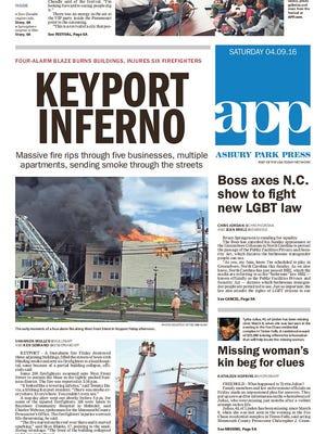 Asbury Park Press front page, Saturday, April 9, 2016