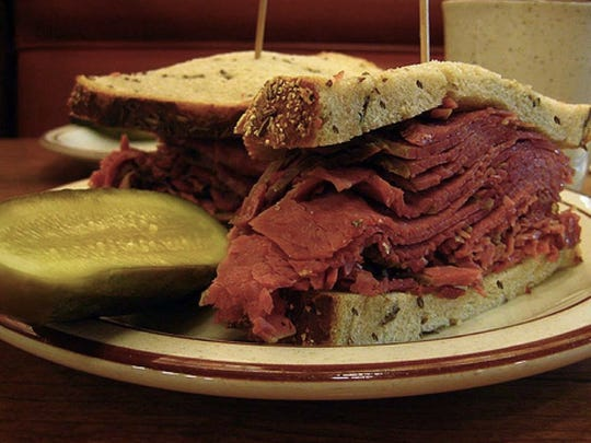 Canter's Deli is famous for its pastrami made from the navel end of the beef brisket.