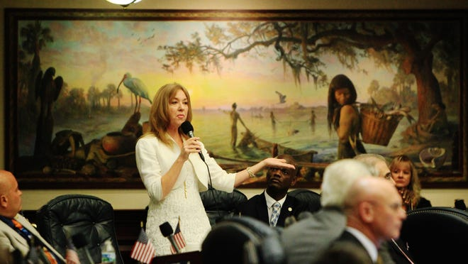 """Rep. Kristin Jacobs, D-Broward, speaks on the floor of the Florida House of Representatives during the recent special session. Behind her is the mural, """"In Ages Past,"""" one of eight murals that depict state history."""