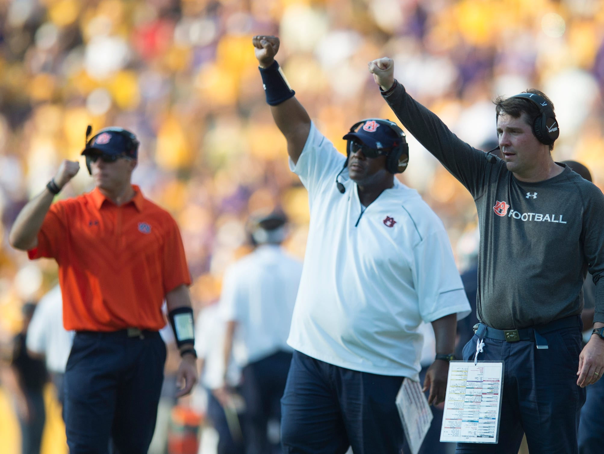 Auburn Tigers defensive coordinator Will Muschamp coaches during the NCAA football game between LSU Tigers and Auburn on Saturday, Sept. 19, 2015, at Tiger Stadium in Baton Rouge, La. LSU Tigers defeated Auburn Tigers 45-21. Albert Cesare / Advertiser