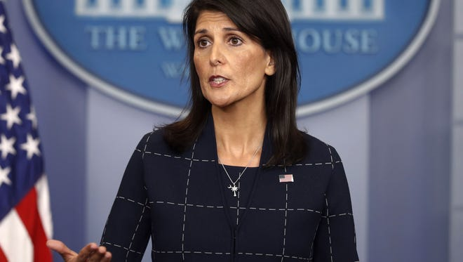 U.S. Ambassador to the UN Nikki Haley speaks to the media in the Brady Press Briefing Room of the White House in Washington on April 24, 2017.