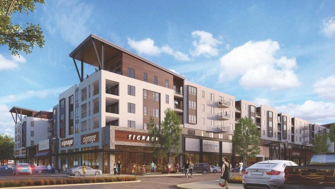 Rendering of a 255-unit mixed use building planned for the Yard in Fishers.