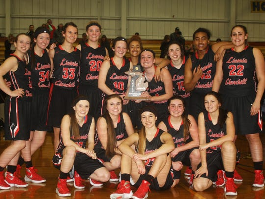 Livonia Churchill basketball players pose with their