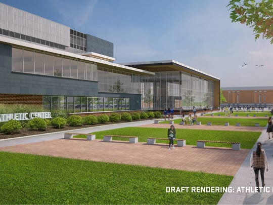 HNTB Architecture rendering of UD athletic performance center to be constructed on west side of Delaware Stadium.