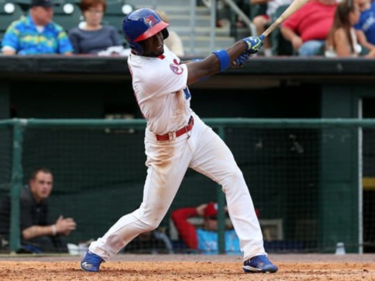 Bisons Melky Mesa slams a game winning two run homer against Scranton Wilkes-Barre Friday night at Coca Cola Field in Buffalo.