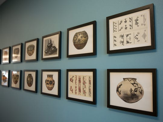 "Kenneth M. Chapman's ""Pueblo Pottery Collection"" hangs"