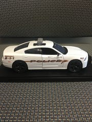 A toy replica of the Dodge Charger police cars driven by members of the Wanaque Police Department. Police will be giving 100 of the toy cars away as part of the inaugural Wanaque FOP Toy Drive.