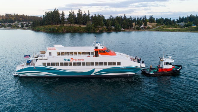 The M/V Finest, a 350-passenger catamaran that will run between Kingston and Seattle, is currently undergoing renovations at Nichols Brothers shipyard on Whidbey Island.