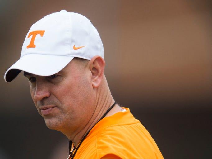 Tennessee head coach Jeremy Pruitt walks on the field