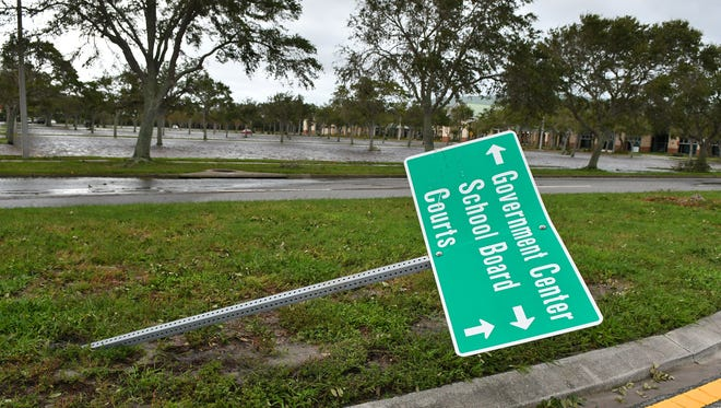The main parking lot of the Brevard County Government Compex in Viera was under water on Monday after Hurricane Irma hit Brevard County.