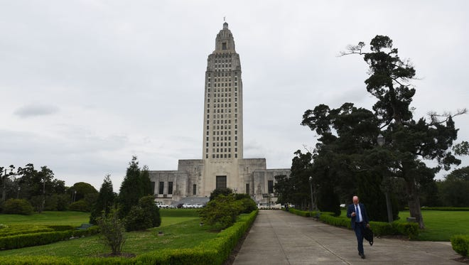 The Louisiana State Capital building.