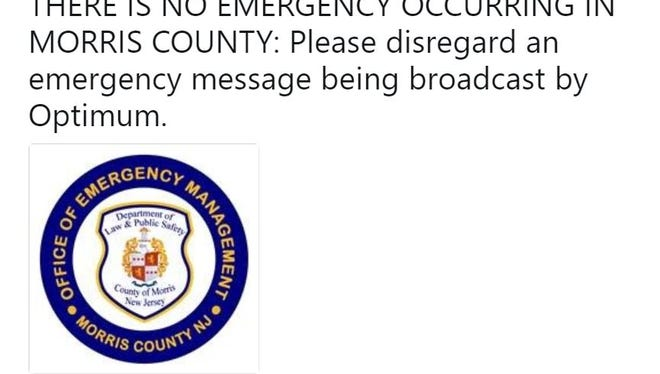 Morris County authorities went on social media Thursday to instruct Optimum cable customers to ignore blue-screen emergency warnings that were interrupting regular programming.