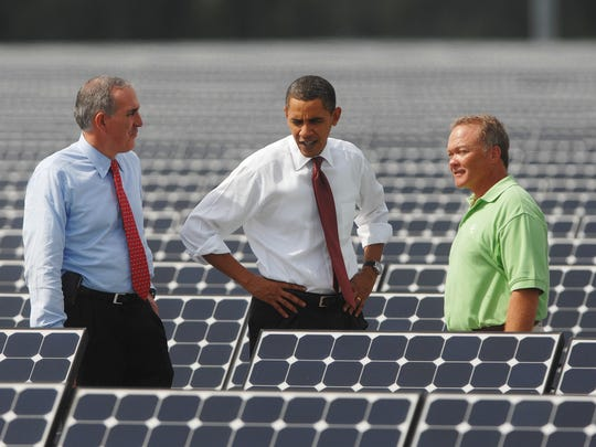President Barack Obama takes a tour of the DeSoto Next Generation Solar Energy Center near Arcadia with Lew Hay, chairman and CEO of the FPL Group, and Greg Bove, construction site manager, in 2009.