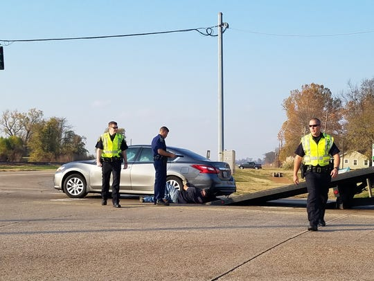 A two-vehicle wreck at the intersection of Kingston