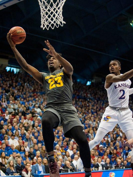 NCAA Basketball: Arizona State at Kansas