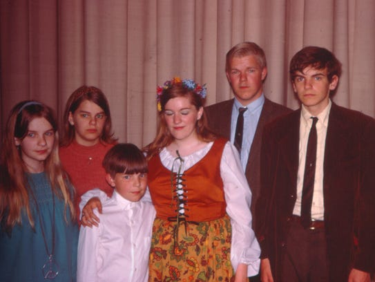 The Tinker kids, left to right: Hope, Mary Beth, Paul, Bonnie, Leonard, and John. Tinker and his sister, Mary Beth, were petitioners in the landmark court case Tinker v. Des Moines Independent Community School District.