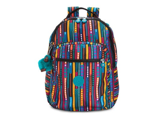 This product image released by Kipling USA shows the Kipling Seoul Print Backpack with laptop protection.