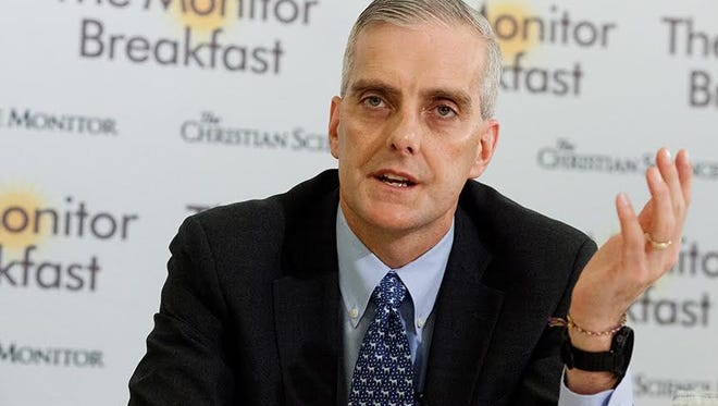 White House Chief of Staff Denis McDonough speaks to reporters at a breakfast hosted by the Christian Science Monitor Wednesday.