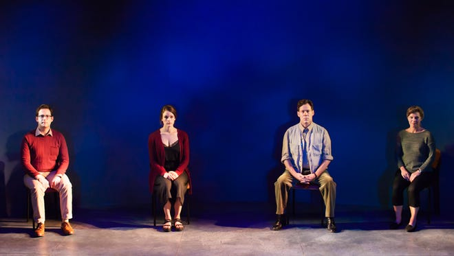 "From left, Mark Jacobson, Claire Adams, Joseph Fuqua and Betsy Zajko star in the Rubicon Theatre Company's production of ""Incognito"" on stage in Ventura through Oct. 1."