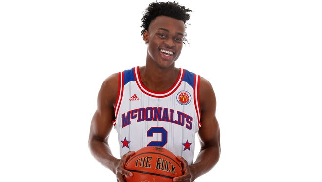 Mar 26, 2017; Chicago, IL, USA; McDonalds High School All-American forward Jarred Vanderbilt (2) poses for a photo during the 2017 McDonalds All American Game Portrait Day at Chicago Marriott. Mandatory Credit: Brian Spurlock-USA TODAY Sports