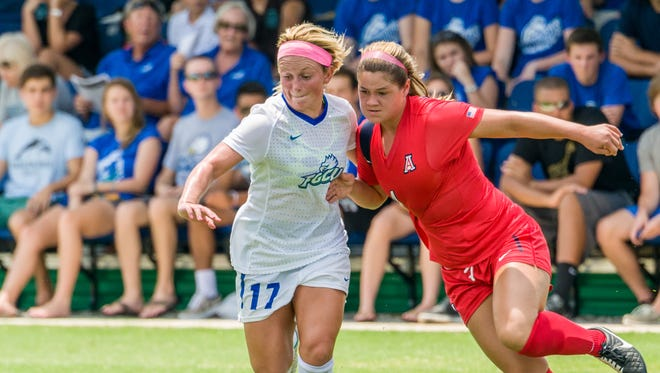 FGCU sophomore defender Ashley Parks battles for the ball during FGCU's 2-1 home win over Arizona on Aug. 24. The 5-foot Parks is one of four FGCU players 5-3 or shorter expected to start Thursday night at No. 12 Texas A&M.