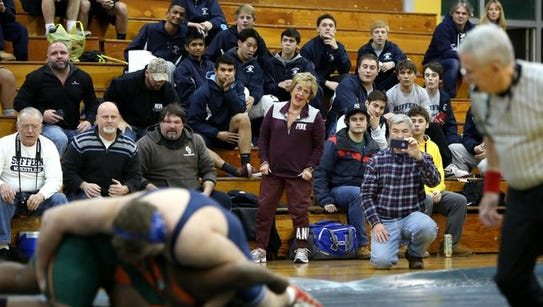 Fran Wenz cheers for her grandson, Suffern's TJ Groesbeck,