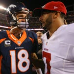 DENVER, CO - OCTOBER 19:  Quarterback Peyton Manning #18 of the Denver Broncos and quarterback Colin Kaepernick #7 of the San Francisco 49ers shake hands after a game at Sports Authority Field at Mile High on October 19, 2014 in Denver, Colorado.  (Photo by Justin Edmonds/Getty Images)