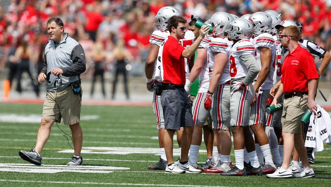 Ohio State Buckeyes defensive coordinator Greg Schiano during the second half of the annual spring game.