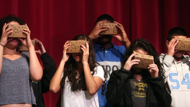 Morristown High School students use new technology going on Google Expeditions 'Virtual Field Trip' through Venice, Italy and around the world. November 14, 2015, Morristown, NJ.