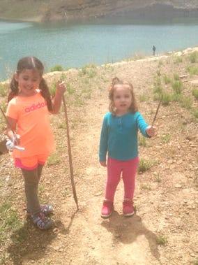Grindstone Lake and trail system are the obvious choice. Eva, age 5, and Lola, age 3.