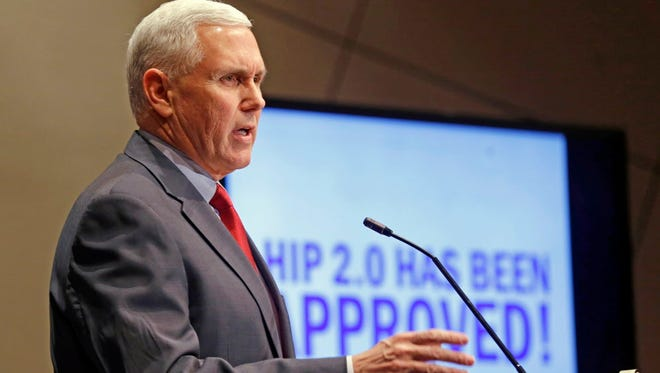 """Indiana Republican Gov. Mike Pence, shown in January 2015, told Republican governors meeting in Florida this month that Donald Trump would replace traditional Medicaid funding to states with block grants that """"encourage innovation. Pence, along with Governor Christie, was one of the Republican governors to approve Medicaid expansion for his state."""