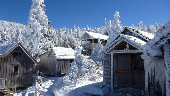 Snow blankets much of LeConte Lodge and the surrounding cabins on Mount LeConte in the Great Smoky Mountains National Park near Gatlinburg in 2012.
