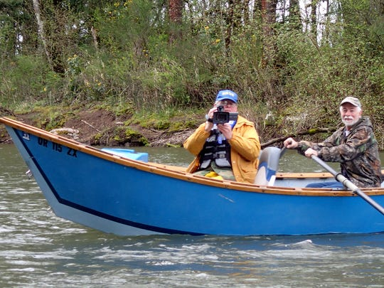 Jim Zelenka of the Salem Chapter of the Association of Northwest Steelheaders snapped this picture of Dave Hopfer shooting a video of him on a learn-the-river trip on the North Santiam.