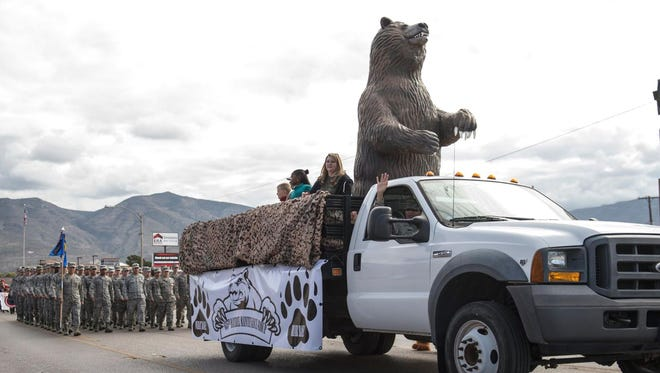 The 49th Materiel Maintenance Group, the Air Force's only organic Basic Expeditionary Airfield Resources (BEAR) unit, marches in the Alamogordo Veterans Day Parade on 10th Street in 2016.