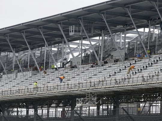Work continues on the Indianapolis Motor Speedway's Project 100. Construction workers look to be in the home stretch on the remodeling of the seats along front stretch of the world famous 2 1/2-mile oval.