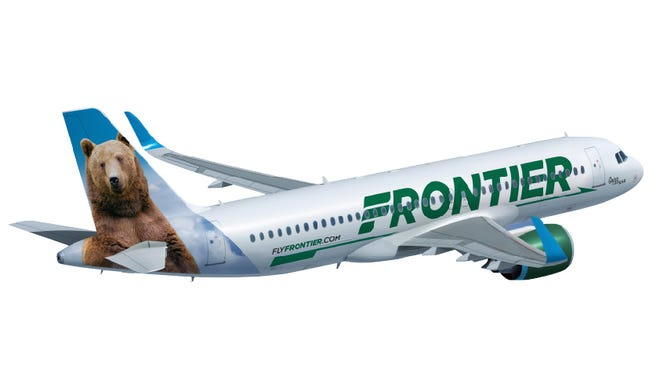 Frontier Airlines shows off a new paint scheme for its aircraft in this undated image.