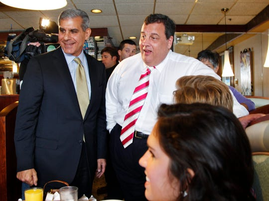 Gov. Chris Christie (right) in one of his rare appearances supporting the campaign for a U.S. Senate seat by state Sen. Joe Kyrillos in 2012 (file photograph).