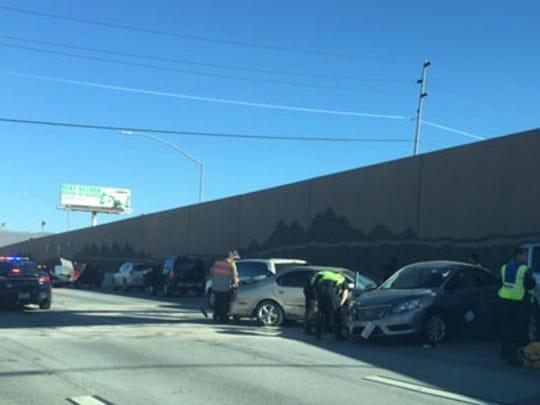 A photo of the crash scene near I-80 and the Spaghetti Bowl.
