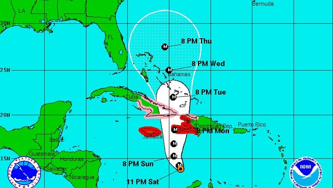 As of 11 p.m. Saturday, the five-day forecast cone for Hurricane Matthew