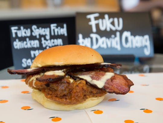 The Fuku Spicy Fried Chicken Bacon Ranch Sandwich is