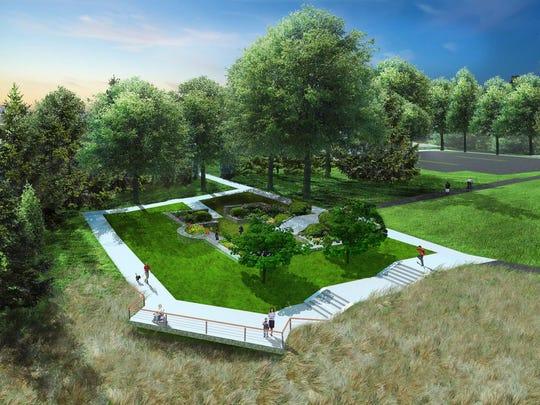 Rendering of relocated Scott Sunken Garden looking northwest.