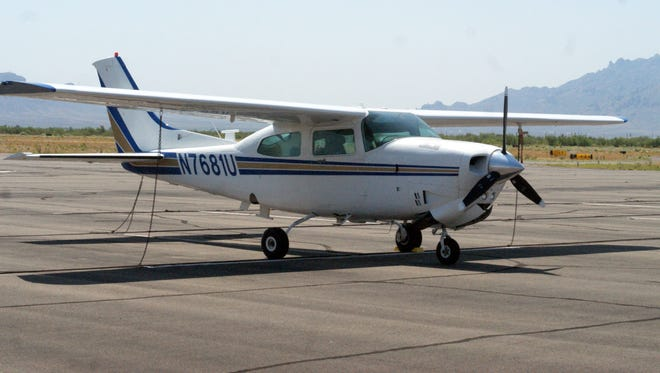 The calm before the storm: A Cessna 210 was parked at Deming Municipal Airport days before an international Cessna 170 Convention was due to land at the airport.