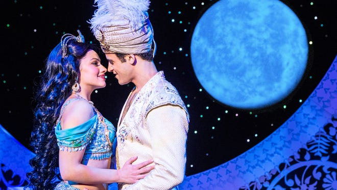 "There is lots and lots of spectacle in this production of ""Aladdin."" But at its heart, this is a love story between a princess (Isabelle McCalla as Jasmine) and a penniless commoner (Clinton Greenspan as Aladdin). The show runs through June 10 at the Aronoff Center."