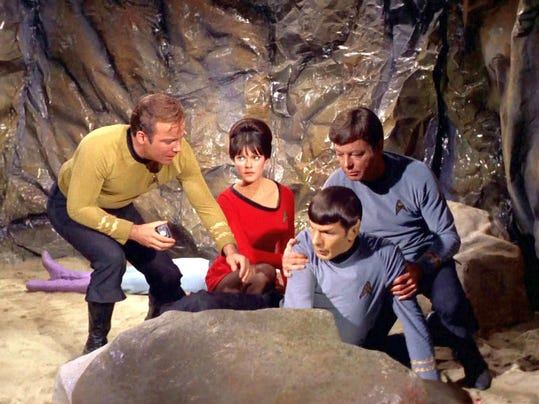2. Julie Cobb and Star Trek crew in the episode By Any Other Name - Desilu P