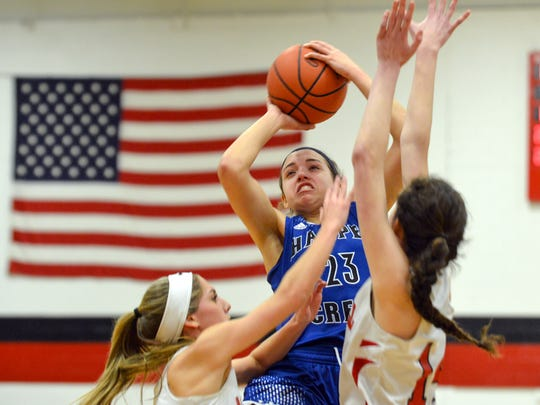 Harper Creek's Charley Andrews in game action during the second quarter of play Friday night.