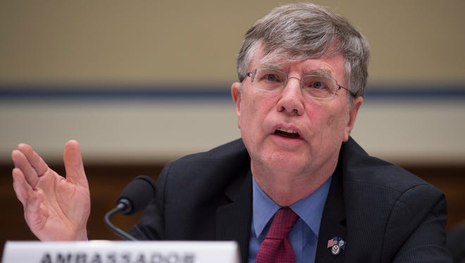 """In this Sept. 8, 2016 file photo, Undersecretary of State for Management Patrick Kennedy testifies on Capitol Hill in Washington. Kennedy  sought last year for the FBI to change the classification level of an email from Hillary Clinton's private server in a proposed bargain described as a """"quid pro quo"""" that would have allowed the FBI to deploy more agents in foreign countries, according to internal FBI records released Monday, Oct. 17, 2016."""