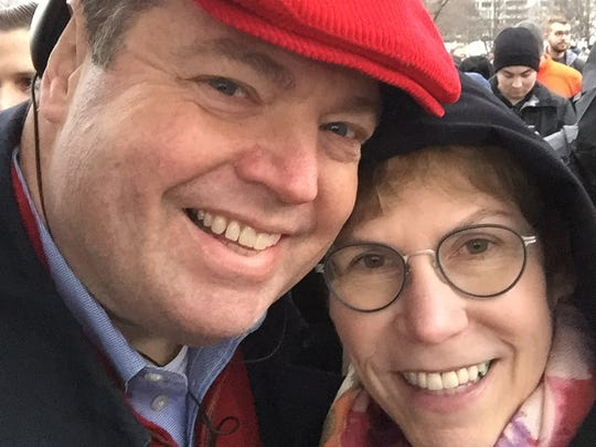 Dave and Karen Arland of Carmel attend the inauguration ceremonies on Friday, Jan. 20, 2017.