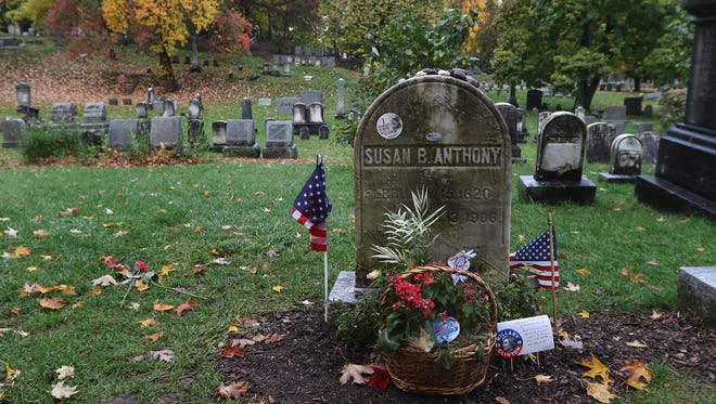 Susan B. Anthony's grave in Mt. Hope Cemetery has stickers and notes left behind by people during the election season.